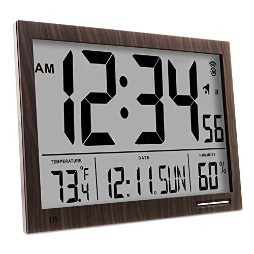 Wall Clock with Jumbo Display, Calendar, Indoor Temperature & Humidity. Color-Wood Tone. SKU-CL030062WD ()