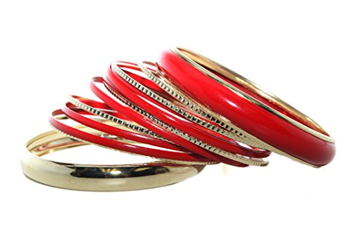 Lux Accessories Red Enamel Multi Bangle Bracelet Set (13 PC) (Set Bangle Enamel)