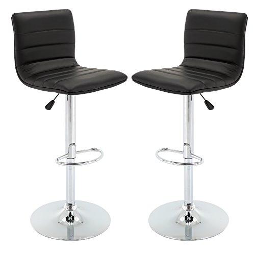 (Vogue Furniture Direct Adjustable Leather Barstool, Black-VF1581024 (Set of 2))