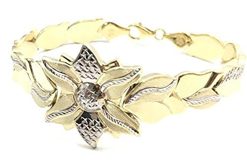 Two Bracelet Tone 10k Gold (NEW LADIES 10K YELLOW GOLD 8'' LONG TWO TONE DIAMOND CUT FLOWER BRACELET 6752)