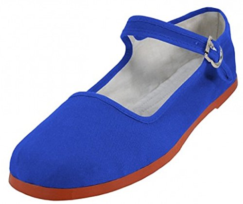 Easy USA Women's Cotton Mary Jane Shoes Ballerina Ballet Flats Shoes 114 Royal