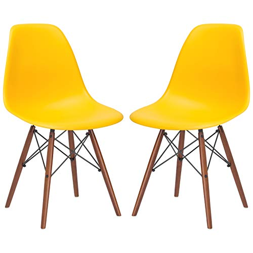 Poly and Bark Vortex Modern Mid-Century Side Chair with Wooden Walnut Legs for Kitchen, Living Room and Dining Room, Yellow (Set of 2)