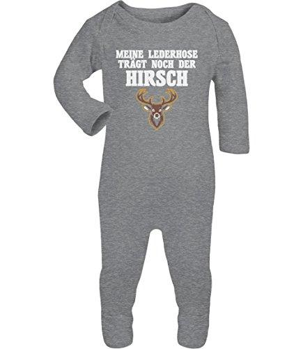 Meine Lederhose Trägt Noch Der Hirsch Baby Strampler Strampelanzug 6M Grau