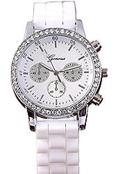 Geneva White Silicone Wristband Rhinestone Women's Quartz Watch