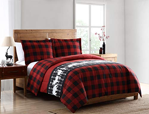 Pine Creek Lodge Reversible Comforter Set Including Shams - Premium Luxury Bed Spread, Rustic Southwestern Style Perfect for Hunters, Cabins and Lodges (Mount Logan, ()