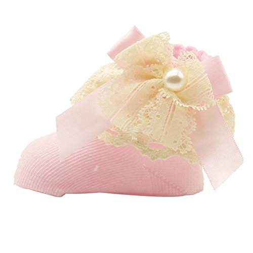 Zhhlinyuan Bebé Girl Super Soft Cute Lace Bow Frilly Ankle Socks Princess Socks Pink