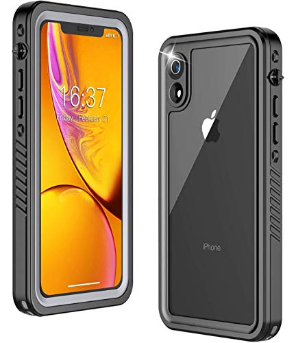 Temdan iPhone XR Case 360 Full-Body Built in Screen Protector Real Heavy Duty Rugged Shockproof Dustproof Daily Waterproof Case Support Wireless Charging for iPhone Xr Cases (Black/Clear)