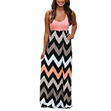 BellyLady Womens Summer Beach Sleeveless Zigzag Striped Maxi Long Vest Dress