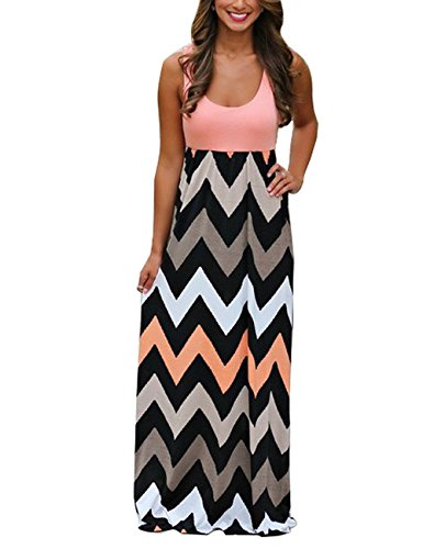 BellyLady Womens Summer Beach Sleeveless Striped Maxi Long Vest Dress Pink - Kate Middleton Maternity Dress