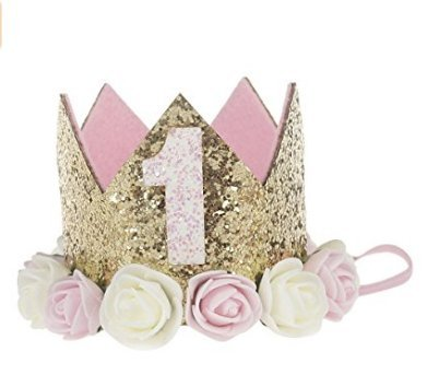 IMBSB 1 año corona de flor de oro rosa corona de flores diadema para niños fiesta de cumpleaños del bebé rendimiento foto diadema diadema
