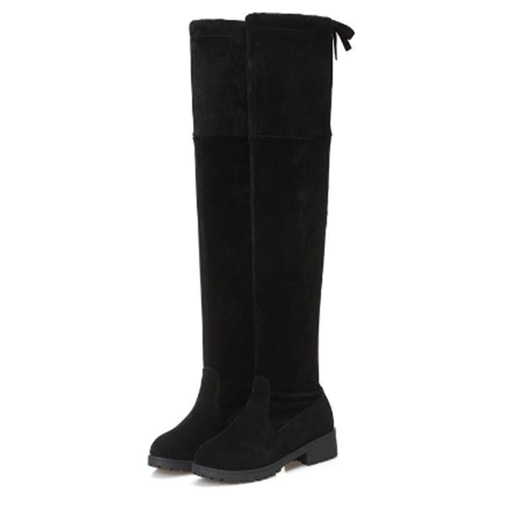 FMWLST Stiefel Heiße Frauen Stiefel Herbst Und Winter Frauen Flache Stiefel Über Die Knie Oberschenkel Hohe Stiefel Winter Warm