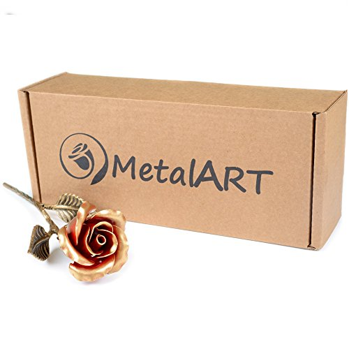 Hand Forged Iron Rose - 11th / 6th Year Wedding Anniversary Gift for Her/Red Metal Rose Steel Rose by MetalArt (Image #4)'