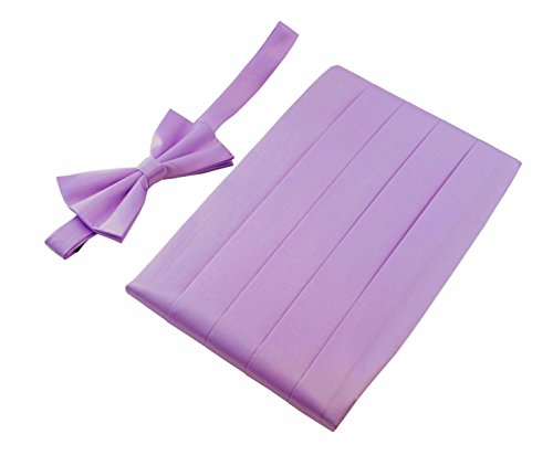 Lilac Cummerbund (Men's 100% Pure Silk Cummerbund & Bow Tie Set - Multi Colors (Lilac))