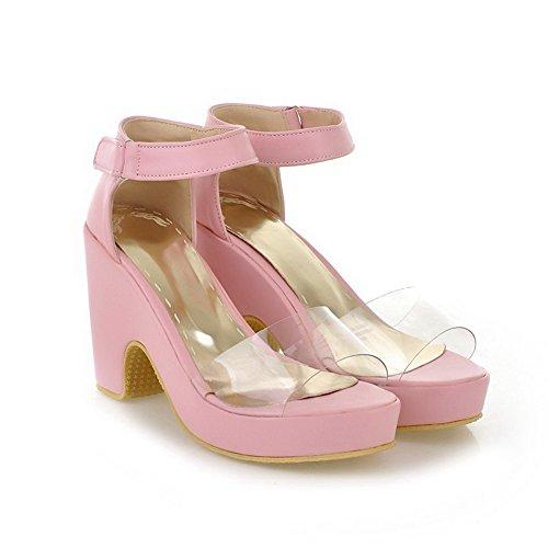 AmoonyFashion Womens Solid Blend Materials High-Heels Open Toe Hook-and-loop Heeled-Sandals Pink mLqPrnTut