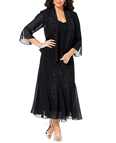 R&M Richards Women's 14W- 34W Plus Size Beaded Jacket Dress - Mother of The Bride Dresses (Black, 18W)