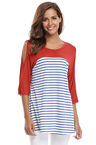 gue Cold Shoulder Half Sleeve Casual Blouses Tops Striped Tshirts (Inside Out Striped Shirt)
