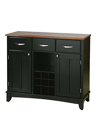 Home Styles 5100-0046 Buffet of Buffets Cottage Wood Top Buffet Server, Black Finish, 41-3/4-Inch