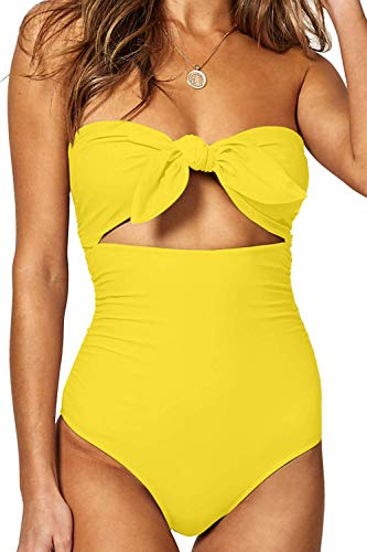 QINSEN Womens Bandeau Tie Knot Front One Piece Swimsuit High Waist Monokini Bathing Suit Yellow S
