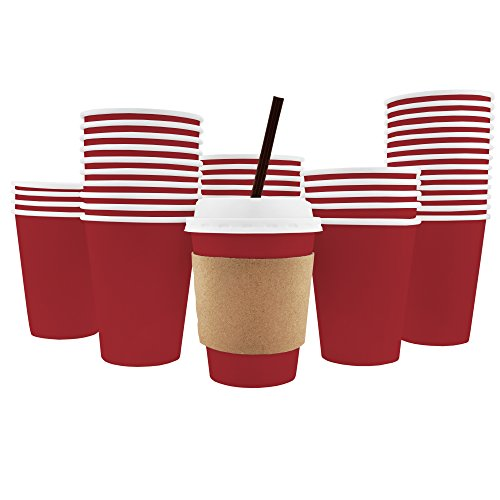 100 Pack - 12 Oz [8, 16, 20] Disposable Hot Paper Coffee Cups, Lids, Sleeves, Stirring Straws - Cranberry Red [Mocha Brown, Clean (Cranberry Paper)
