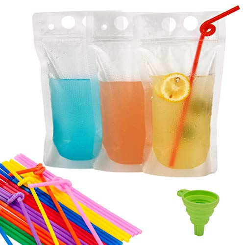 Beverage Pouch - PAMASE 80 Pcs Drink Pouches Juice Bags with 80 Straws - 16oz Disposable Freezable Clear Stand up Liquid Smoothies Zipper Plastic Drink Pouch