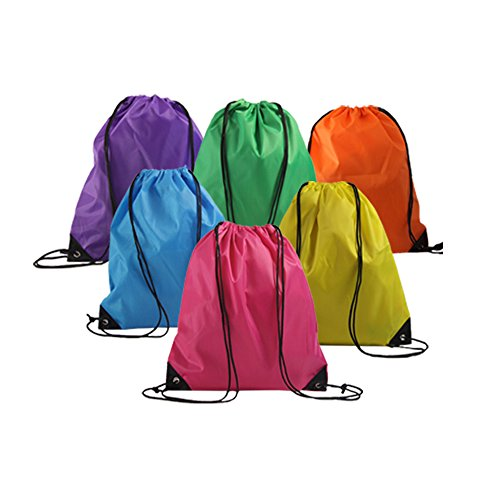 LIHI BAG 6 Pack Ripstop Party Favors Drawstring Backpack Birthday Goody Gift - Ripstop Drawstring