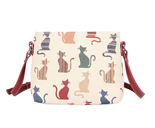 Signare Womens Tapestry Fashion Shoulder Handbag Across Body Messenger Bag in Cheeky Cat Design 41JiRq uNxL