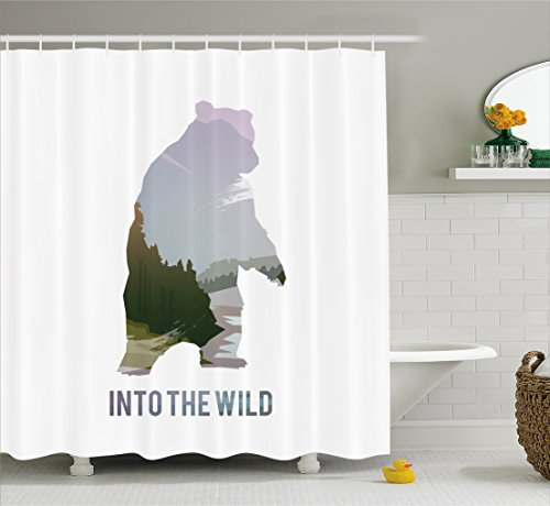 Cabin Decor Shower Curtain by Ambesonne, Wild Animals of Canada Survival in the Wild Theme Hunting Camping Trip Outdoors, Fabric Bathroom Decor Set with Hooks, 70 Inches, Multicolor