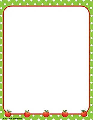 Teacher Created Resources Apples and Dots Computer Paper, Lime Border (4873)