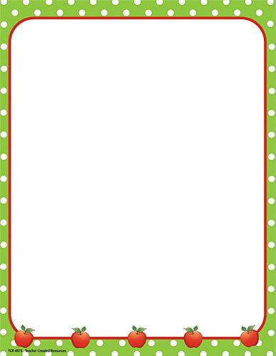 (Teacher Created Resources Apples and Dots Computer Paper, Lime Border (4873))