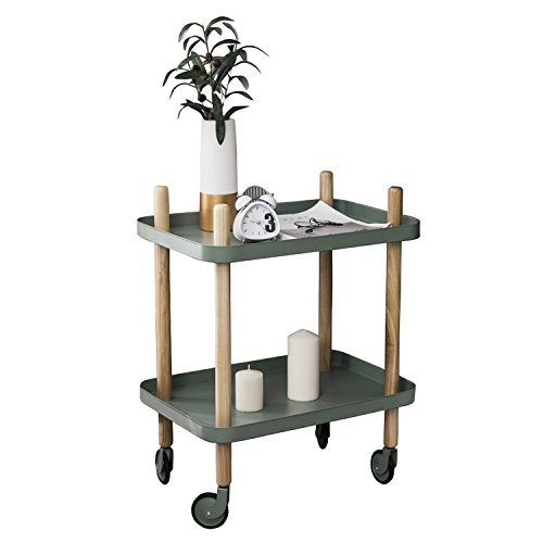 2 Side Metal (Sofa Table Side End Table with Wheels, 2-Tier Metal Nightstand Utility Cart Kitchen Island Cart Storage Shelf by Clothink, Army Green)