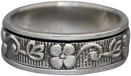 Energy Stone Plum Blossom Narrow Band Sterling Silver Meditation Spinner Ring (Style UK48)