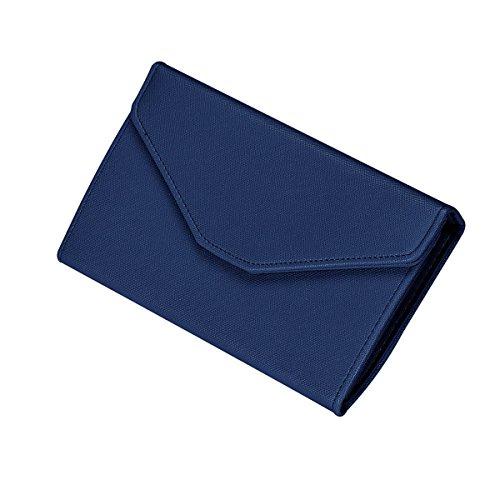 Women Bowknot Long Purse Button Wallet Clutch Hand Bag (Dark Blue) - 5