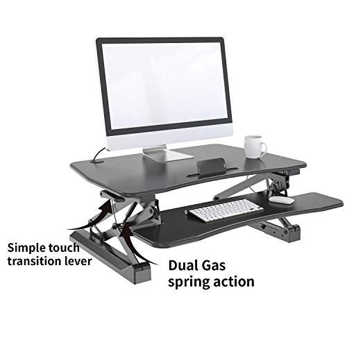 (FEUZY Sit Stand Ergonomic Adjustable Laptop/Desktop Standing Dual Riser Workstation Desk - Black)