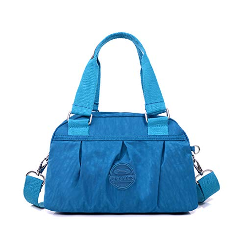Tiny Chou Lightweight Waterproof Nylon Shoulder Bag Compact Crossbody Messenger Bag with Pockets 1929-Ocean Blue