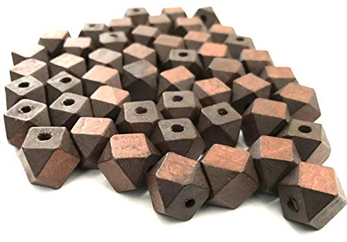- 50 pcs Brown Octagon Wood Beads 12mm Bead Jewelry Macrame Wooden Tool Square