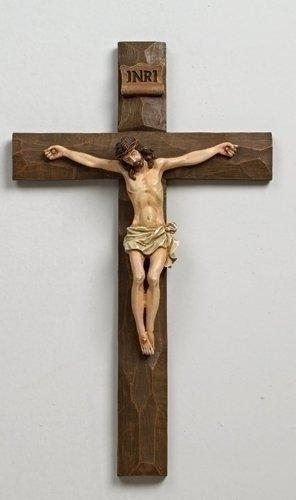 "Roman 12"" Inri Driftwood Texture Crucifix Wall Cross"