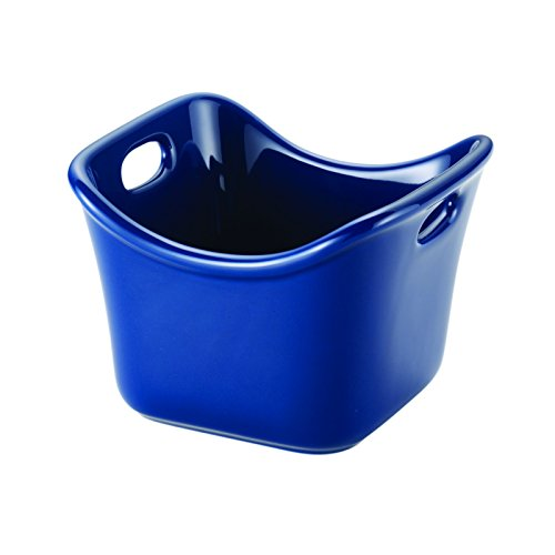 Rachael Ray 58589 Stoneware Individual Square Ramekin, 10 oz, Blue