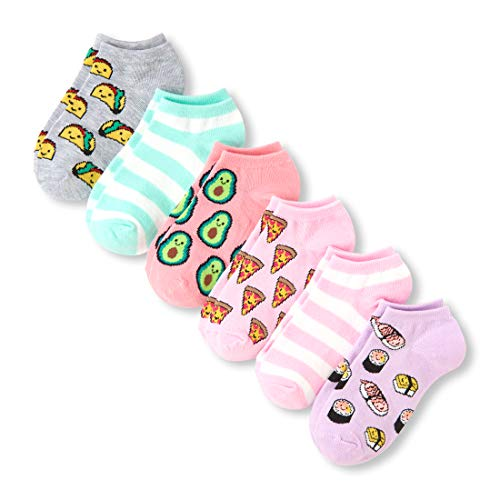 - The Children's Place Girls' Big 6 Pack Novelty Printed Ankle Socks, multi CLR, S 11-13