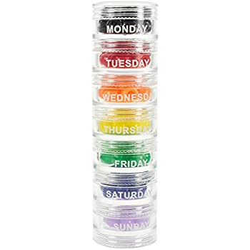 Great GMS 7 Day Pill Organizer   Stackable With Extra Lid And Adhesive Labels For  Each Day