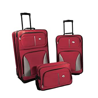 American Tourister Luggage Fieldbrook Three Piece Set Bag, Red, 3 Piece Nested Set