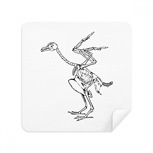 (Skeleton Ostrich Decoration Pattern Glasses Cleaning Cloth Phone Screen Cleaner Suede Fabric 2pcs)