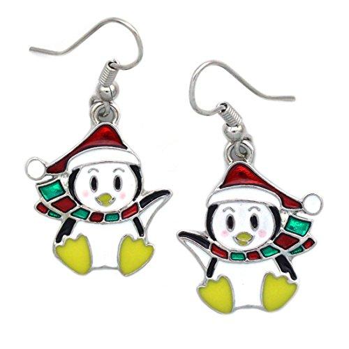 cocojewelry Santa Hat Penguin Dangle Earrings Christmas Jewelry (Penguin)