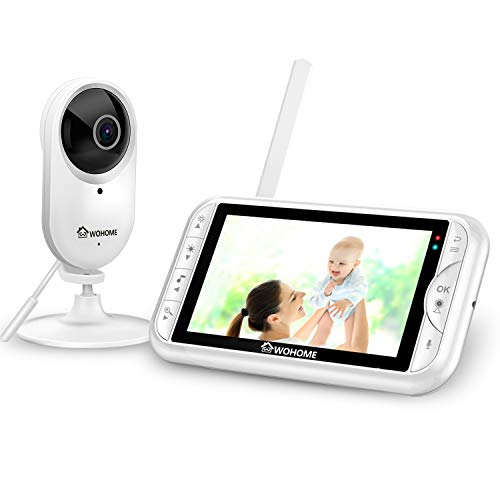 Wohome LY-135 2.4Ghz Wireless Video Baby Monitor with Camera and Audio 5″ HD 720P Display 900ft Range,TEM/Sound Alert,2-Way Talk,One-Click Zoom,Thermal Monitor and Night Vision