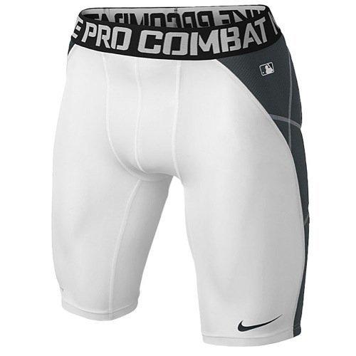 (Nike Pro Combat Hyperstrong Compression Heist Slider Baseball Short (S, 100 White/Anthracite))
