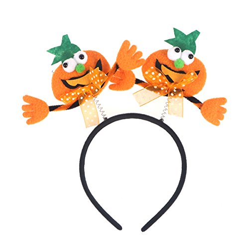 TINKSKY Kids Girls Pumpkin With Green Leaf LED Light Up Halloween Headband Novelty Hair Band Hair Hoop For Headpiece Halloween And Carnival Masquerade Party Costume Cosplay Decoration