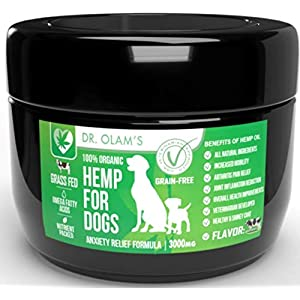 Hemp Dog Treat Calming for Anxiety Composure Aid with All Organic Ingredients Omega 3-6 & 9 + Hemp 3,000 mg for Stress Relief – Storms + Barking + Chewing + Hip & Joint Pain Relief + Grass Fed Beef