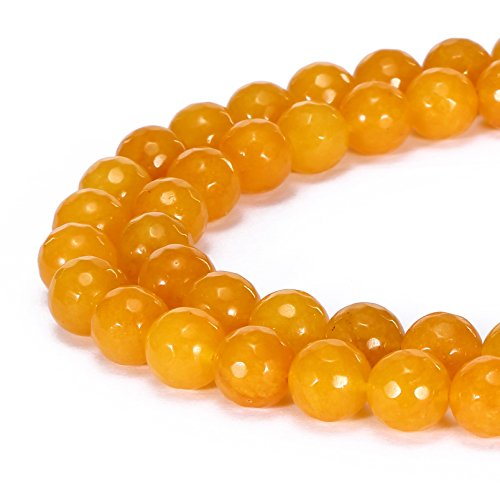 (BRCbeads Gorgeous Natural Yellow Jade Gemstone Faceted Round Loose Beads 8mm Approxi 15.5 inch 45pcs 1 Strand per Bag for Jewelry Making)