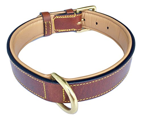 Soft Touch Collars Real Leather Padded Dog Collar, XL Brown, 28'' Inches Long x 1.75'' Inches Wide, Fits Neck Size 22'' to 25'', Full Grain Genuine Luxury Leather for XLarge Dogs by Soft Touch Collars (Image #1)