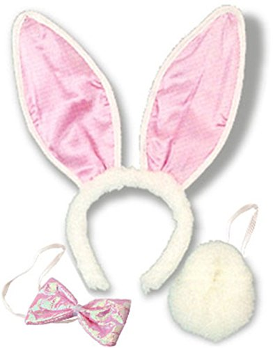 White Bunny Rabbit Ear, Tail and Bow Costume Kit (Bunny Tail And Ears)