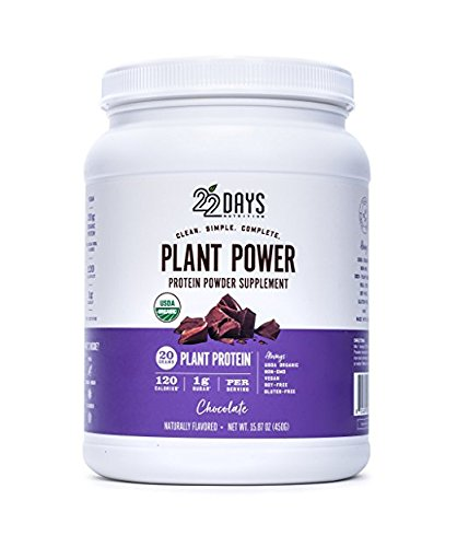 22 Days Plant Power Protein Powder, Chocolate, 15.87 oz (Pack of 2)